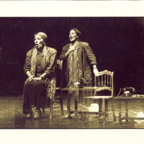 Photographs of Adria Santana in the theatrical production, Las penas saben nadar