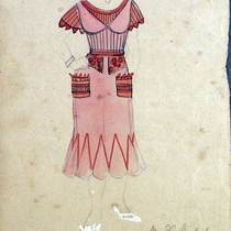 Costume design drawings for the production, Recuerdo de Tulipa