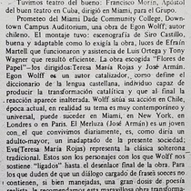 Newspaper clipping of the theatrical production, Flores de papel
