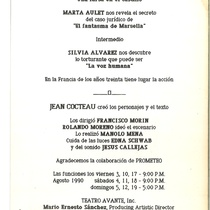 "Program for the production, ""Tres veces Cocteau"""