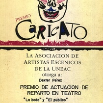 "Award to Déxter Cápiro in the production, ""La boda"""