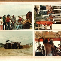Photographs of the East Coast-West Coast Teatro Brigade doing construction work