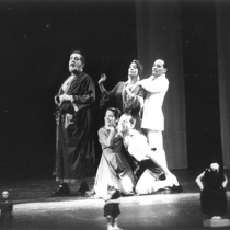 "Photograph of Déxter Cápiro (Orestes Garrigó), Roberto Gacio (Agamenón), Amarilys Núñez (Clitemnestra), Mario Guerra (Egisto) and Gilda Bello (Electra Garrigó) in the production, ""Electra Garrigó"""