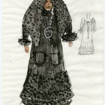 "Costume sketch for the character ""Madre"" (Mother) for the production, ""Los fantasmas de Tulemón"""