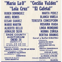 "Playbill for the production, ""Antología de zarzuelas cubanas"""