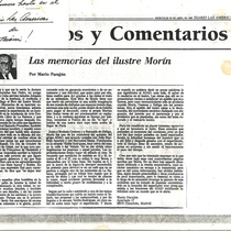 Press clipping of Morin's memoirs and a personal note
