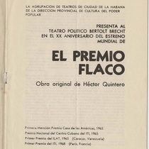 "Program for the production, ""El premio flaco"""