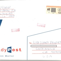 Handwritten envelope, from Francisco Morín to Rosa Ileana Boudet