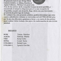 "Program for the production, ""Las Willis"" (Compañía Musical Habana)"