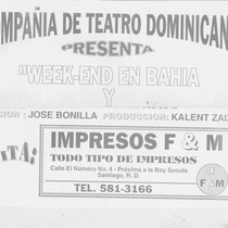 "Flyer for the production, ""Week-End en Bahía"""