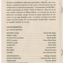 "Program for the production, ""La encantadora familia Bliss"""