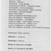 "Program for the production, ""¡De Película!"" (Grupo Buscón)"