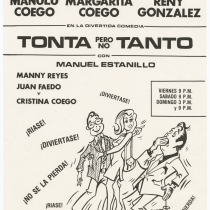 "Playbill for the production, ""Tonta pero no tanto"" (She's not that dumb)"