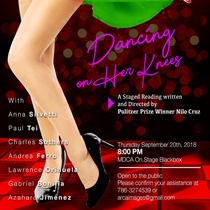 Poster for the staged reading, Dancing on Her Knees