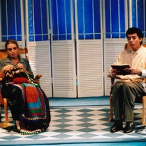 "Photograph of Déxter Cápiro (Vicente) and Patricia Azán (Emilia) in the production, ""El no"""