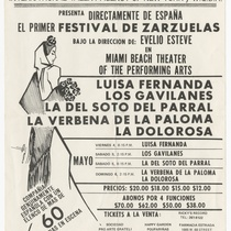 "Playbill for the production, ""El primer festival de zarzuelas"""