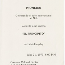 "Invitation for the production, ""El principito"""