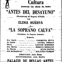 "Poster for the productions, ""Antes del desayuno"" and ""La soprano calva"" (Havana, 50's)"