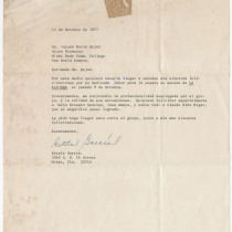 "Letter from Estela García to Teresa María Rojas about the production, ""La alondra"""