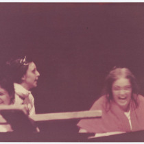 "Susana Sosa (Susan B. Anthony), Alina Interián (Amelia Earhart), and Rebeca Sánchez (Joan of Arc), in ""Chamber Music"""
