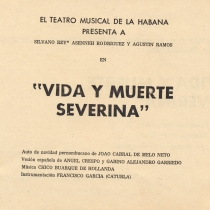 "Program for the production, ""Vida y muerte Severina"""