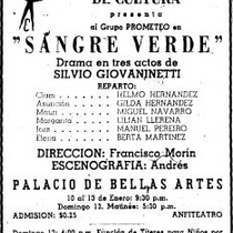 "Press clipping for the production, ""Sangre verde"" (Havana, 1957)"