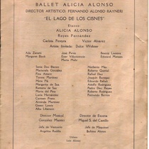 "Program for the production, ""El lago de los cisnes"""