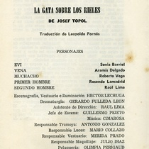 "Program for the production, ""La gata sobre los rieles"""
