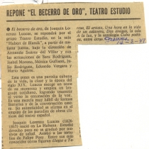 "Review for the production, ""El becerro de oro"""