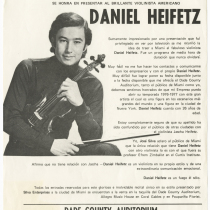 "Poster for the concert, ""Daniel Heifetz"""
