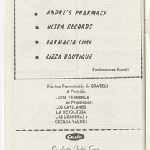 "Program for the production, ""La dolorosa"" (The pained one)"