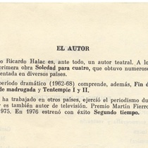 "Program for the production ""Segundo tiempo"""