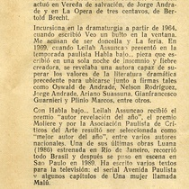 "Program for the production, ""Habla bajo, si no yo grito"""