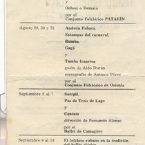Program for the production, Panorama de teatro y danza 1975