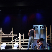 "Photographs of a rehearsal for the production, ""Talco, un drama de tocador"""