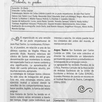 Program for the theatrical production, Fíchenla, si pueden