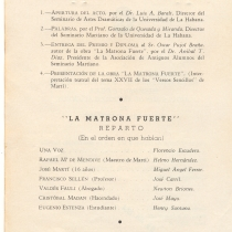"Invitation and Program for the production, ""La matrona fuerte"""