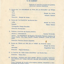 "Program for the production, ""A lo Margot"""