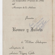"Program for the production, ""Romeo y Julieta"""