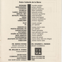 "Program for the production, ""La vida es sueño"""