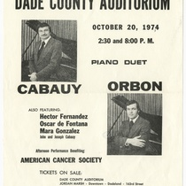 "Playbill for the concert, ""Piano duet: Cabauy and Orbon"""