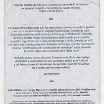 Program for the theatrical production, Kassandra