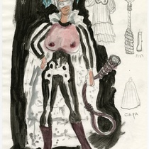 "Costume sketch for the character ""Muerte"" for the production, ""Los fantasmas de Tulemón"""