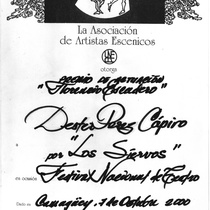 "Performance award, Déxter Cápiro in the production, ""Los siervos"""