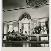 Photograph of Drama Department members in Havana hotel lobby