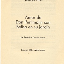 "Program for the production, ""Amor de Don Perlimplín con Belisa en su jardin"