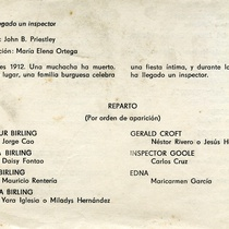 "Program for the production, ""Ha llegado un inspector"""