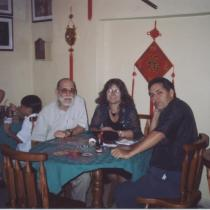 Abelardo Estorino and Reinaldo Montero in a Chinese restaurant