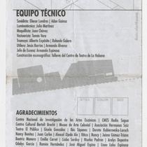 "Program for the production ""Una caja de zapatos vacía"""