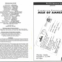Program for the theatrical production, Milk of Amnesia